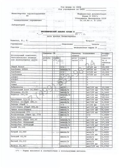 Биохимический анализ крови - купить справку о сдаче анализа за 1199 рублей