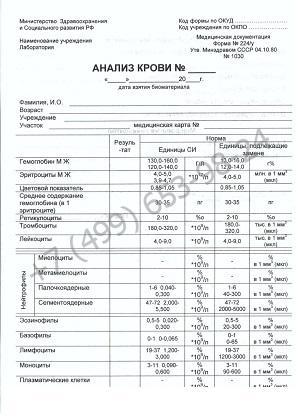 Общий анализ крови - купить справку об анализе за 999 рублей