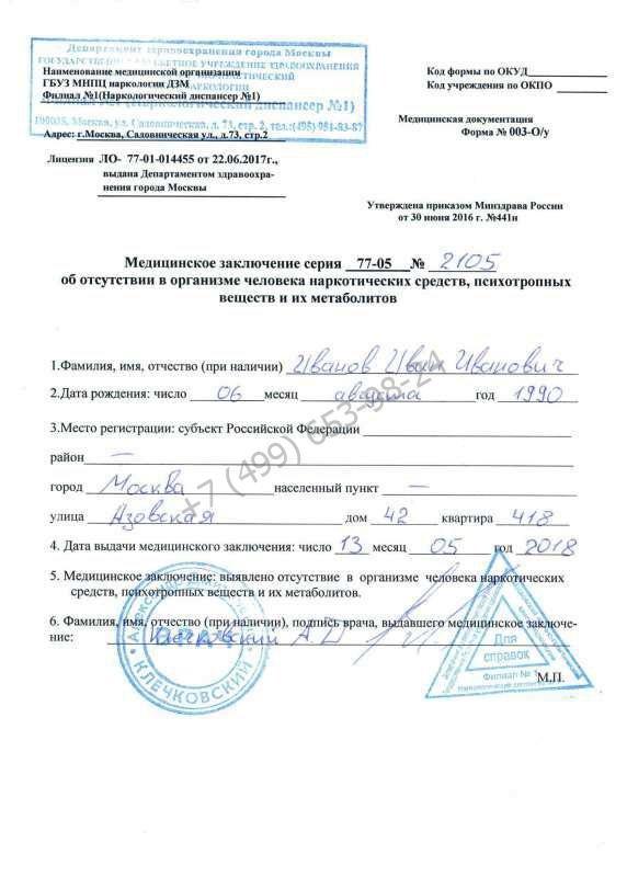 Купить справку ХТИ для охранника недорого с доставкой в Москве