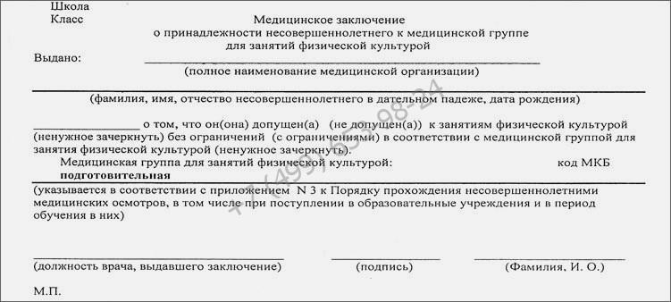 Купить справку о группе здоровья для занятий по физкультуре в Москве недорого